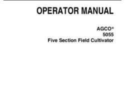 AGCO 997780ABF Operator Manual - 5055 Field Cultivator (5 section)