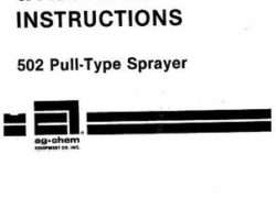 Ag-Chem AG008802 Parts Book - 502 Sprayer (pull type)