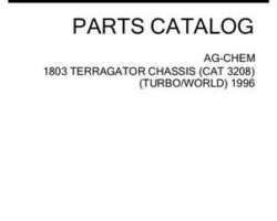 Ag-Chem AG053599D Parts Book - 1803 TerraGator (chassis, Cat 3208T, world trans., 1996)