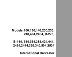 Service Manual for Case IH TRACTORS model 404